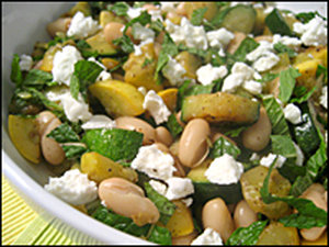 Squash with mint and goat cheese