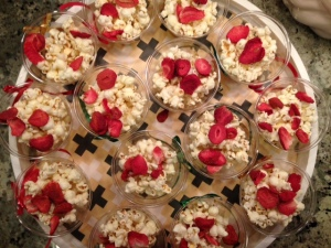 popcorn freeze dried strawberry cups