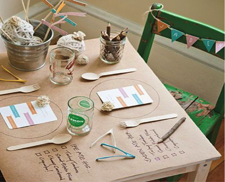 Dinner Party Decor Ideas Part - 43: Place Butcher Paper And Chalk As The Base Of Your Table. Kids Will Love  Drawing Or Playing Tic-tac-toe With These Two Items, While Adults Will Feel  Tempted ...